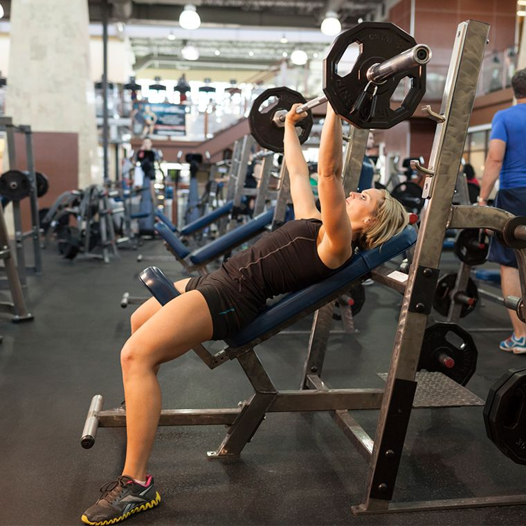 Dumbbell Exercises Without A Bench: Barbell Incline Bench Press Medium-Grip