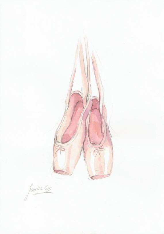 El Ballet De Puntos De Zapatos Puntos En Los Zapatos De Print De Lunares La Acuarela La Rosa De B Zapatillas De Ballet Zapatos De Ballet Dibujos De Ballet