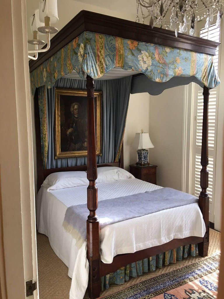 Carved Mahogany FourPoster Bed with Canopy, 19th Century