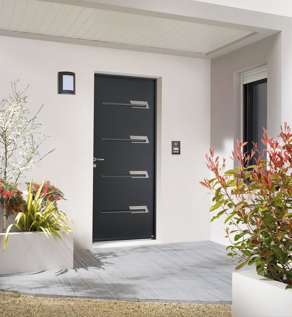 Porte D Entree Inserts Inox Porte D Entree Acier Porte D Entree Noire Entree Moderne