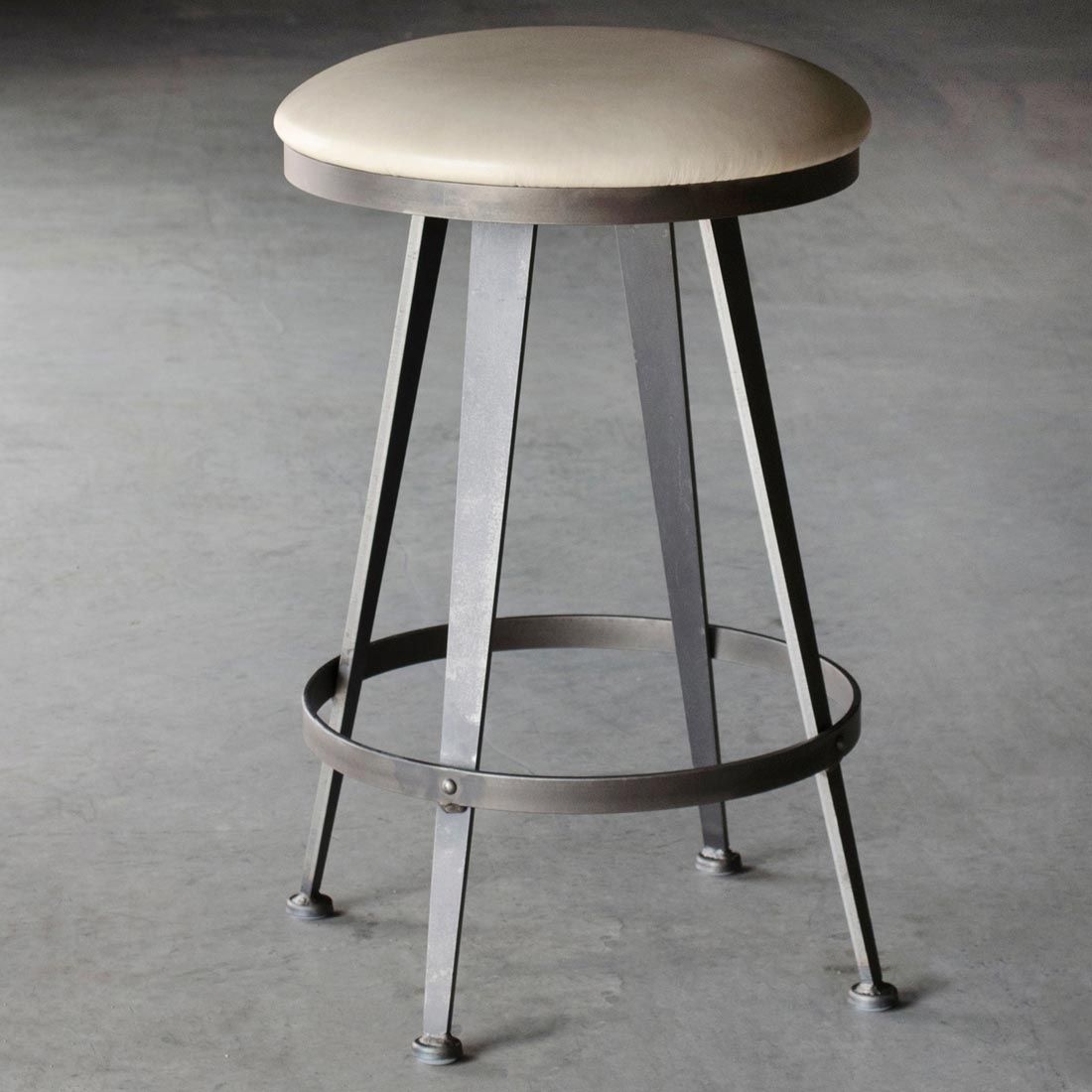 Modern Style Round Seat Backless Ivory Leather Counter Stool With