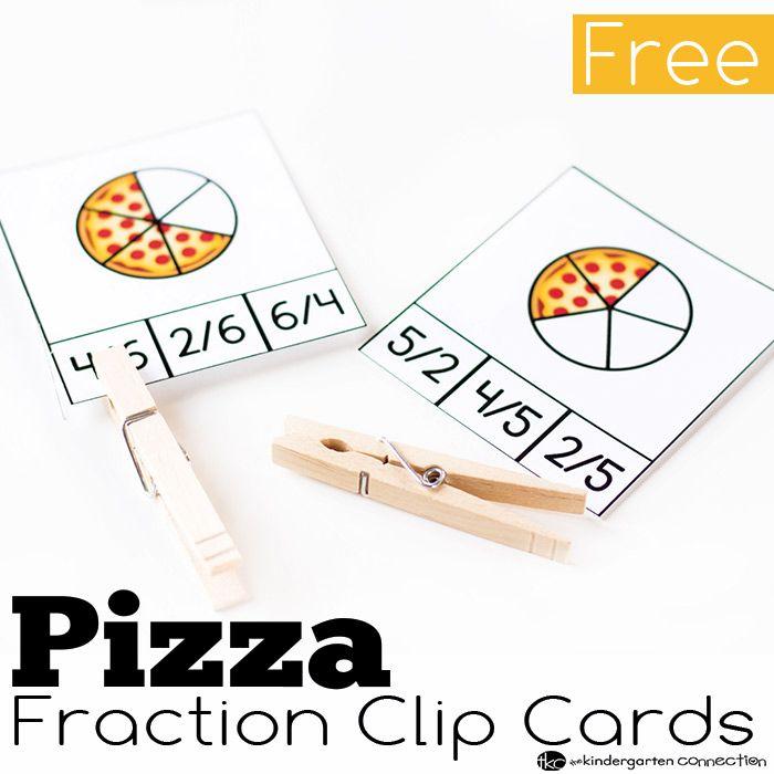 Pizza Fraction Clip Cards | Kindergarten