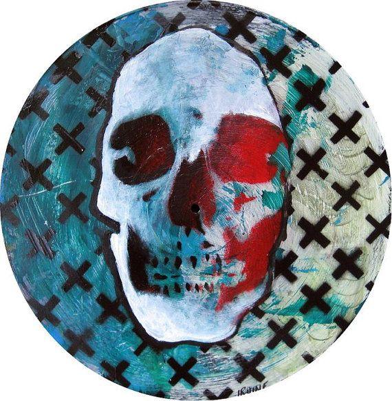 Gothic Skull Painting on Reclaimed Vinyl by TheGnarledBranch, $41.00