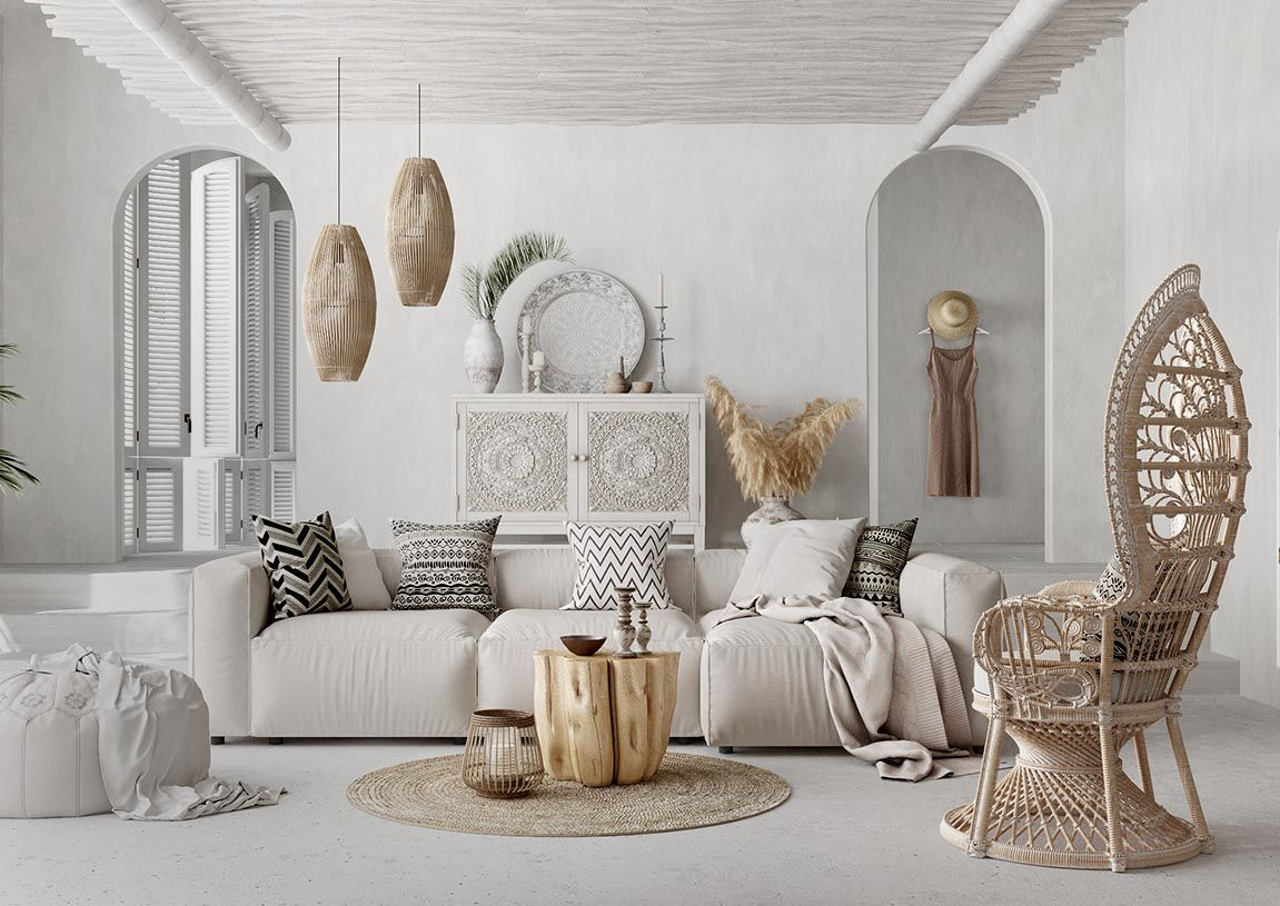 All White Cozy Mediterranean Style Living Room Decor With White Modular Sectional Transitional Living Rooms Luxury Living Room Glam Living Room