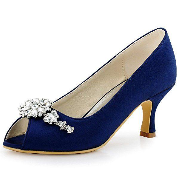 ac26c2d5ee99 ElegantPark HP1541 Women Peep Toe Pumps Leaf Rhinestones Comfort Heel Satin  Wedding Bridal Dress Shoes Navy Blue US 8