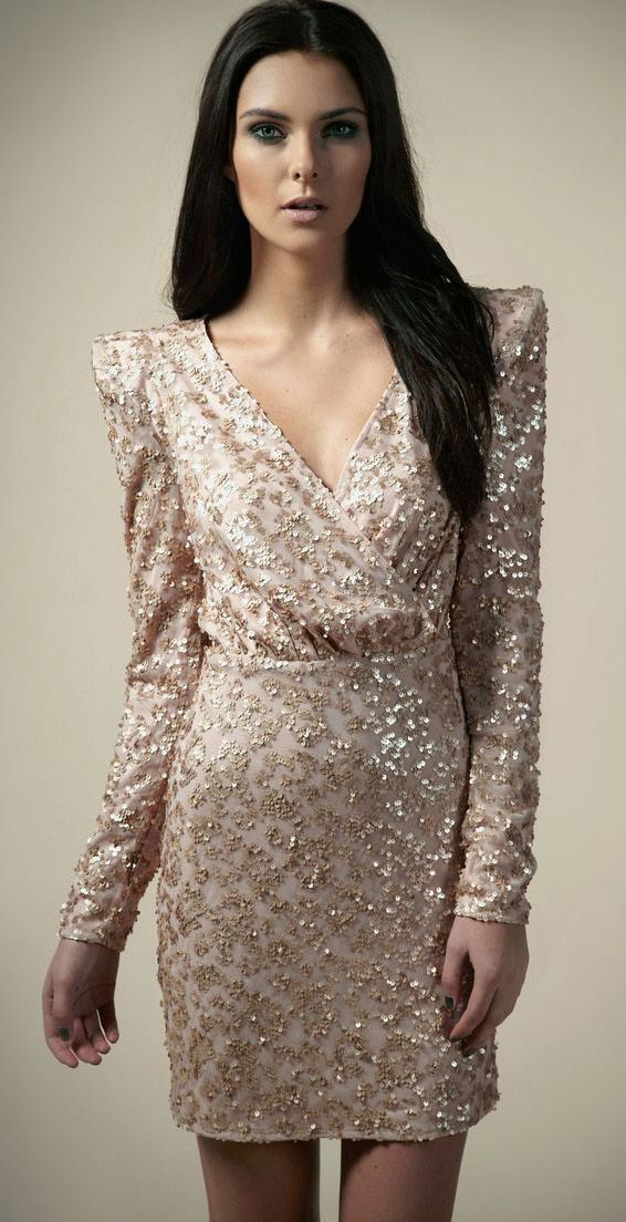 4711f25c73fa Boutique Amy Sequin Wrap Padded Shoulder Dress | Rags | Fashion ...