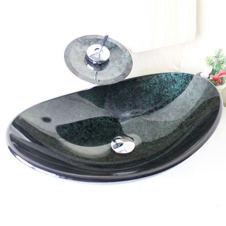 彩色上絵洗面ボウル&蛇口セット 洗面台 手洗い器 強化ガラス製 排水金具付 濃緑 楕円形