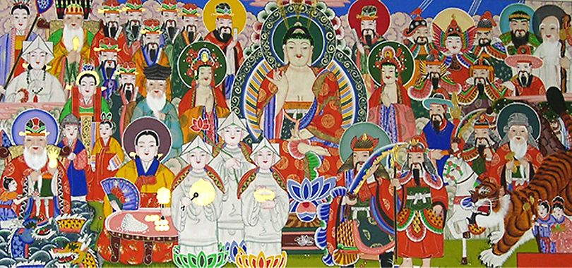 Mushindo panel with multiple deities and supernaturals, including native Korean shaman spirits and Buddhist beings