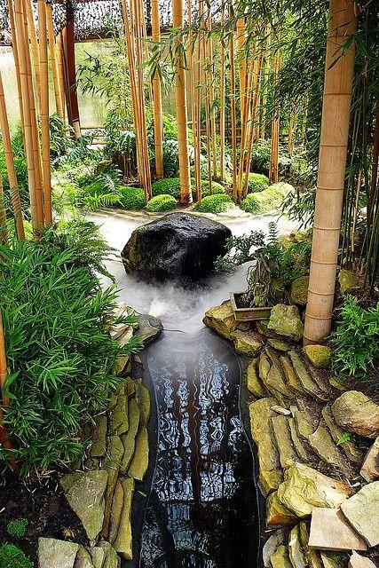 Zen Garden With Bamboo Pond. Calmed Uplifted.