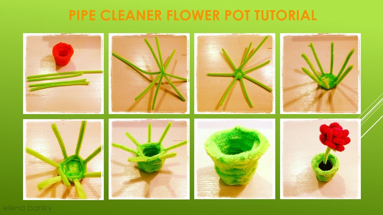 Pipe cleaners for crafts - Pipe Cleaner Flower Pot Tutorial