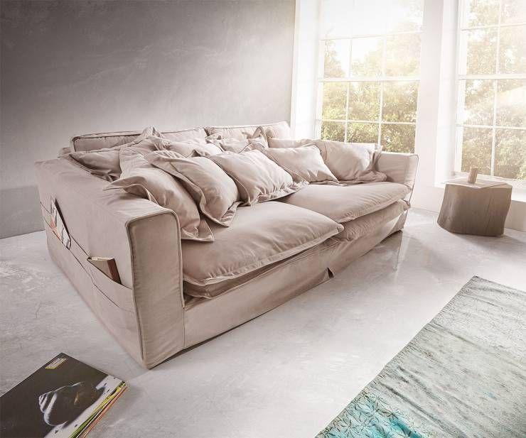 Hussensofa Noelia 240x145 Cm Hellgrau Mit Kissen : Moderne Wohnzimmer Von  DELIFE
