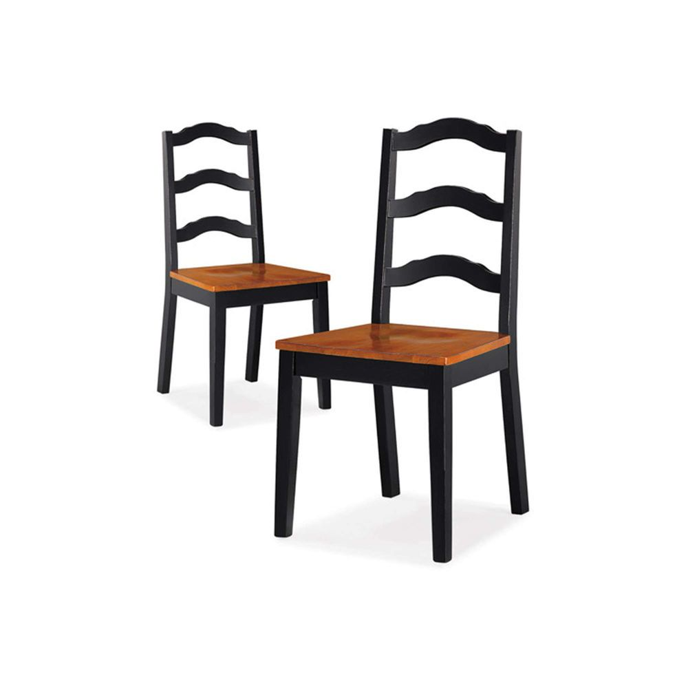 Set of 2 Ladder Back Dining Chairs Solid Wood Seat Black & Oak ...