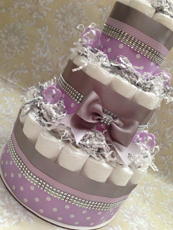Purple and Grey Diaper Cake Centerpiece by MrsHeckelDiaperCakes