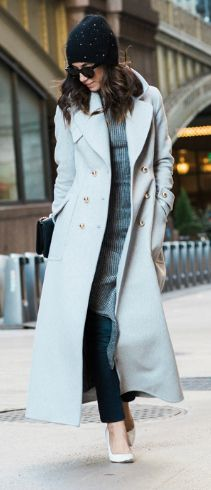 #fashion #winter #outfits Maxi + Krystal + gorgeous pale blue coat + denim jeans + knitted pullover. Coat: Zimmermann, Dress: French Connection, Jeans: DL 1961, Bag: Chanel.