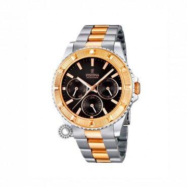 F16692 5 Γυναικείο ρολόι χειρός FESTINA με μαύρο καντράν   ροζ  χρυσό-ατσάλινο μπρασελέ 39be0654281