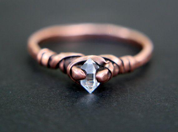 micro crystal dazzler ring artisan tibetan crystal natural raw quartz crystal herkimer - Artisan Wedding Rings