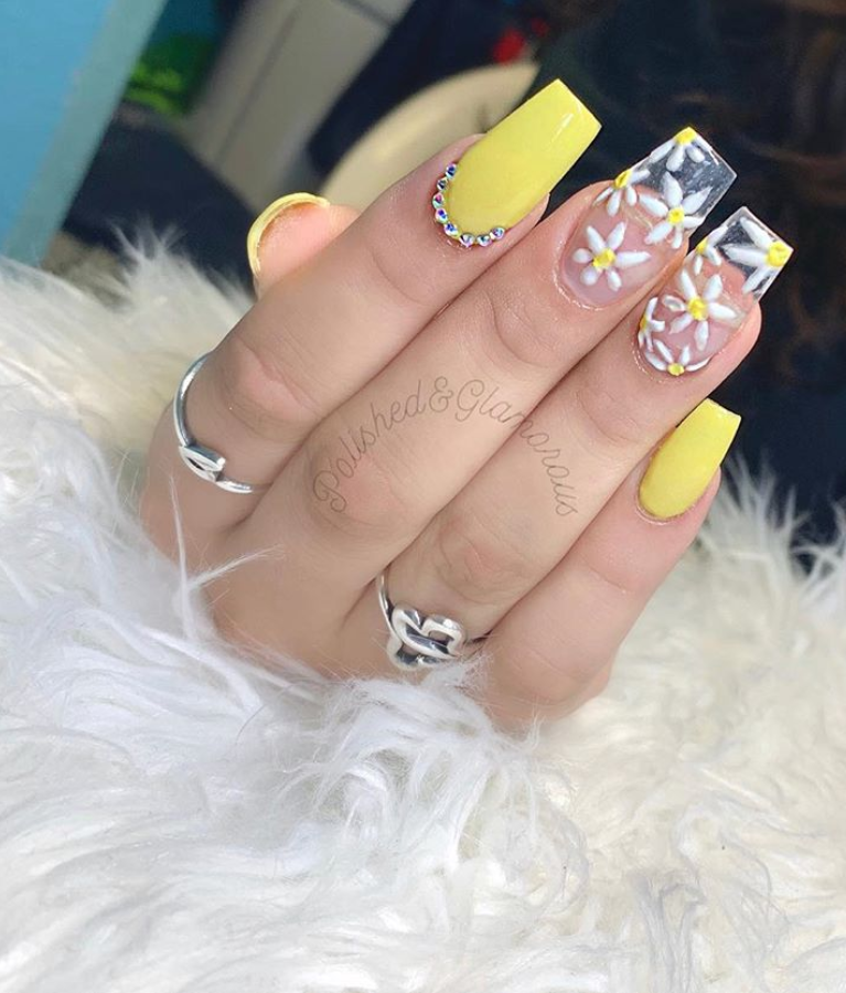 Summer Coffin Yellow Nail Designs
