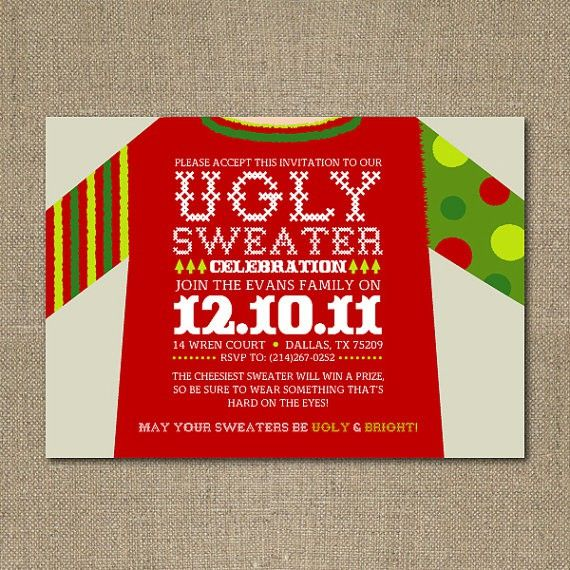 Ugly Christmas Sweater Party Invite Idea Design Pinterest
