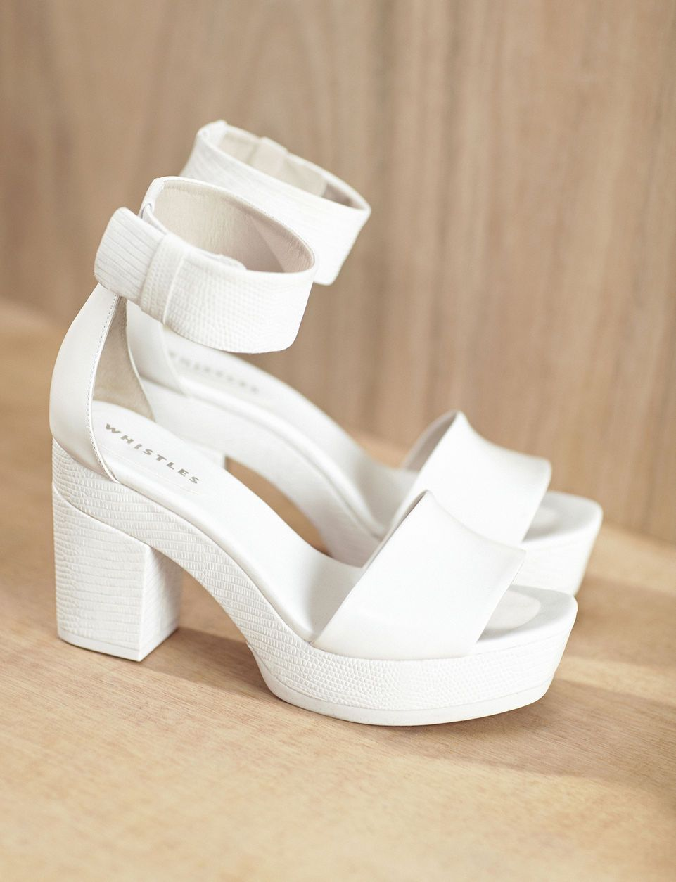 fbb5599bc6 Ways to wear: the leather skirt White Shoes, White Heeled Sandals, White  Platform