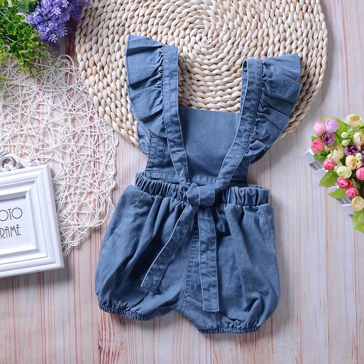 69aa051a5 Newborn Infant Baby Girls Denim Romper Bodysuit Jumpsuit Outfits ...
