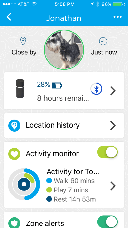 Pod 3 GPS Pet Tracker Pet Profile mobile app page of our