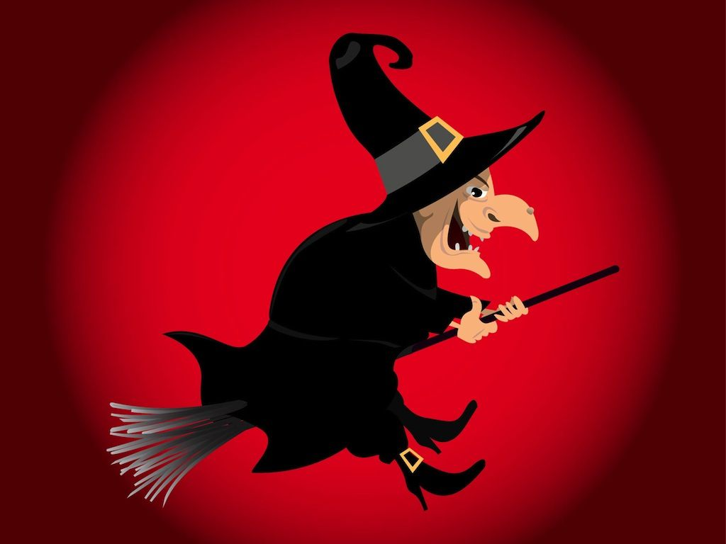 witch cartoon characters flying