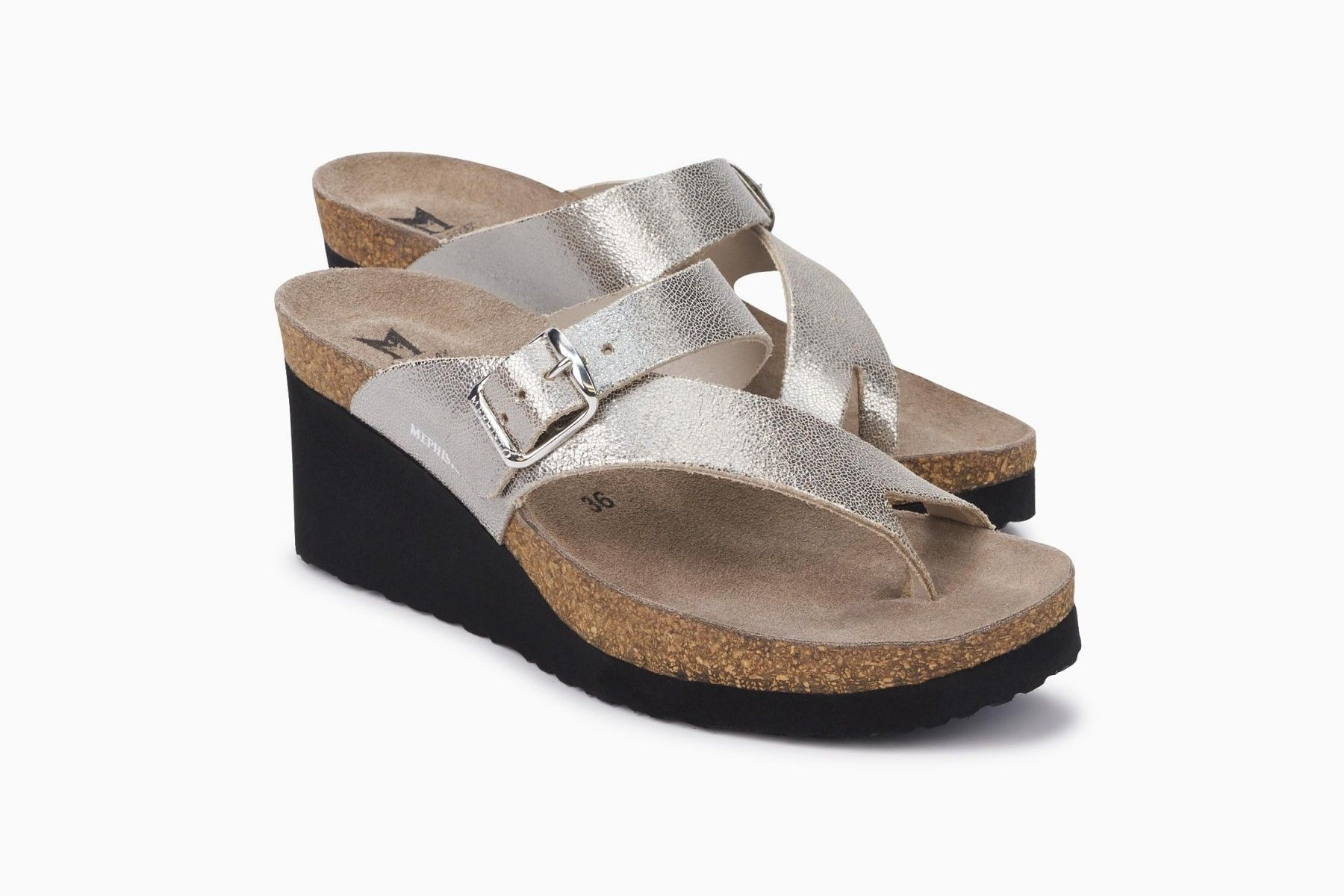 Tyfanie Sandal Mephisto Women S Cork Footbed Sandals Metallic Leather Platinum In 2020 Footbed Sandals Cork Footbed Sandals Modern Sandals