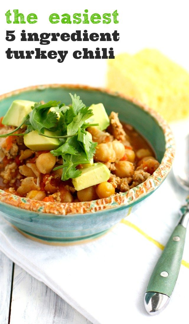 Simple and healthy 5 ingredient turkey chili with a kick! Everyone loves this easy recipe!