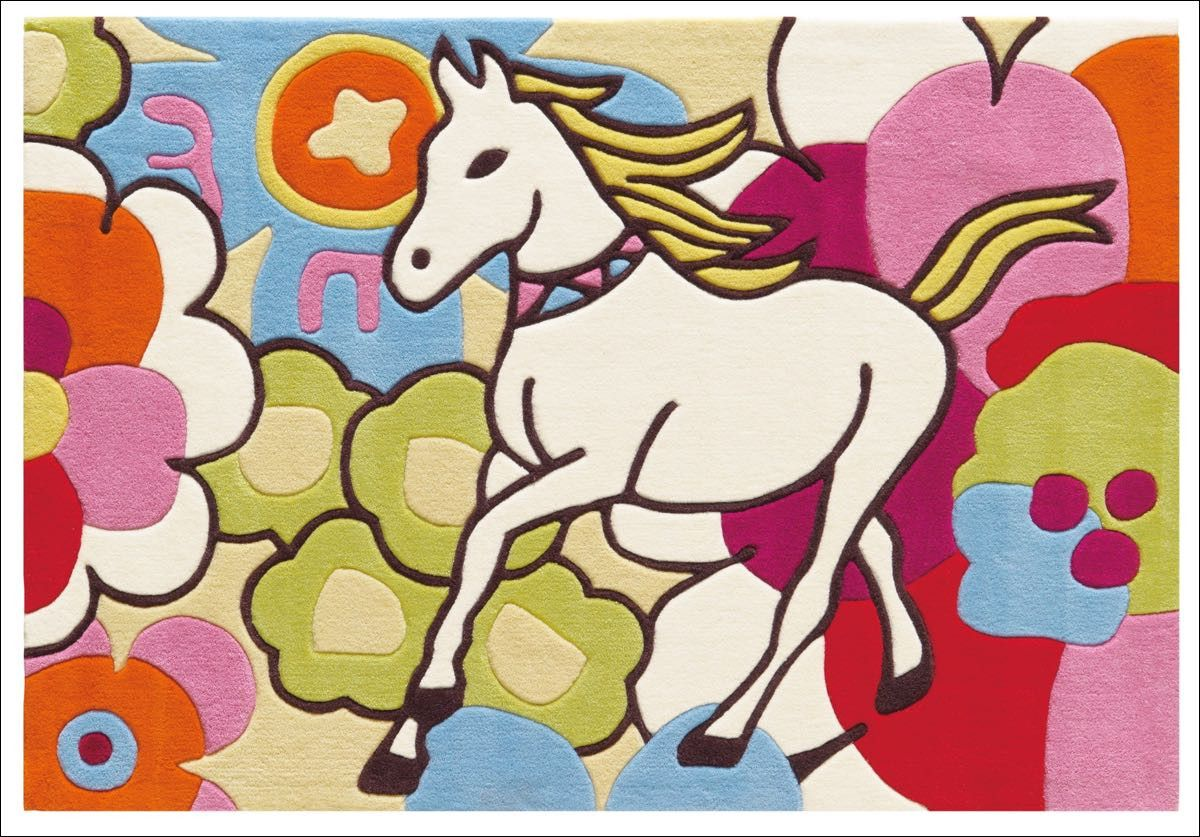 Arte Espina Designer Horse & Flowers Rug Multi is a gorgeous, colourful rug for a girls room. View now at https://www.rugsofbeauty.com.au/collections/kids/products/arte-espina-designer-rug-multi-160x110cm