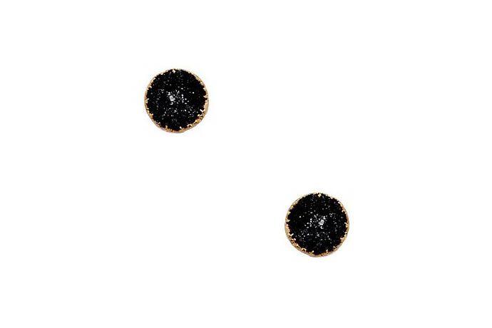 DARA ETTINGERBlack Druzy Stud Alanna Earrings