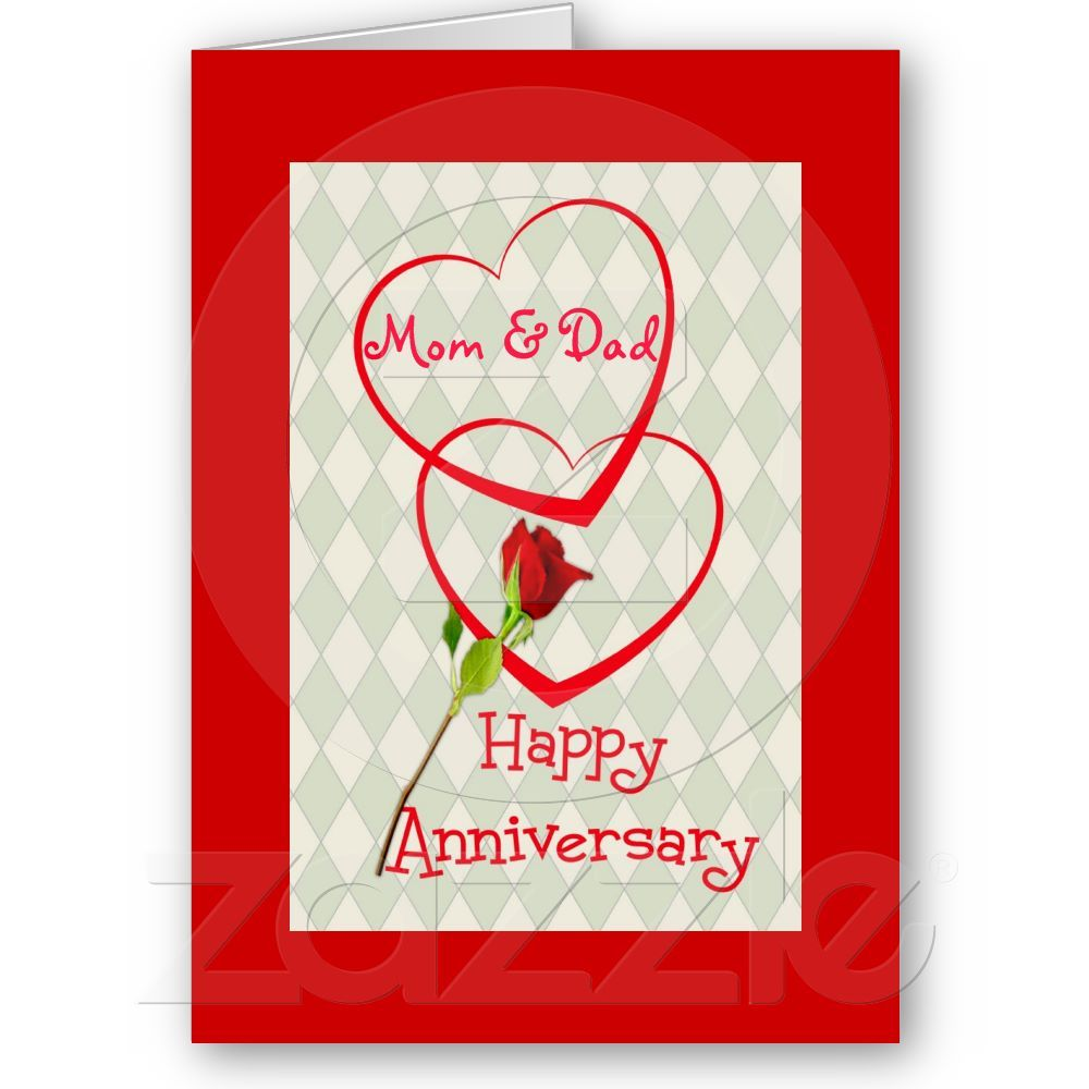25th Wedding Anniversary Gifts For Mum And Dad: Happy Anniversary Mom & Dad, Two Hearts Card From Zazzle