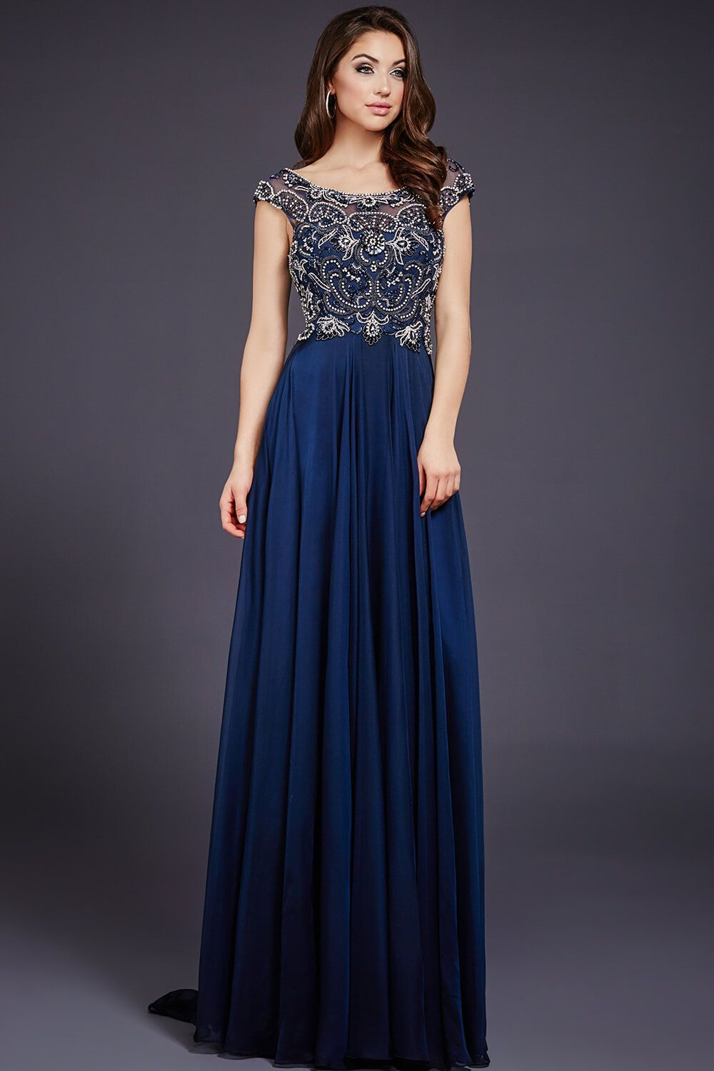 The dress empire - The Crystal Embellished Bodice On Jovani 29344 Perfectly Compliments The Flowing Chiffon Skirt