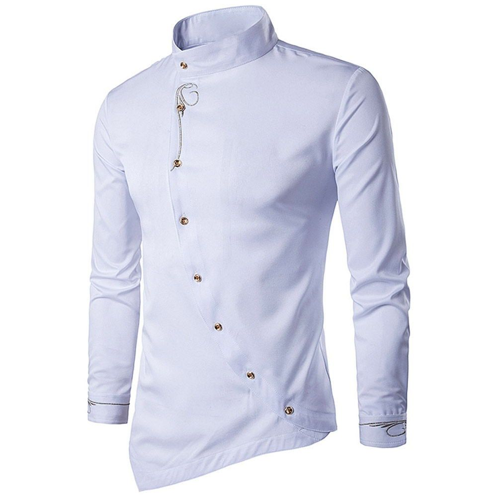 Men's White Oblique Button Embroidered Long Sleeve Shirt