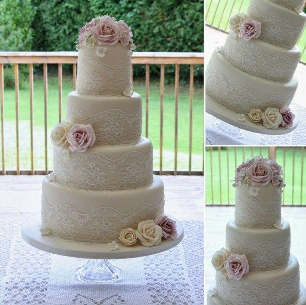 Hochzeitstorte Vintage Stil Spitze Rosa Blumen Zucker