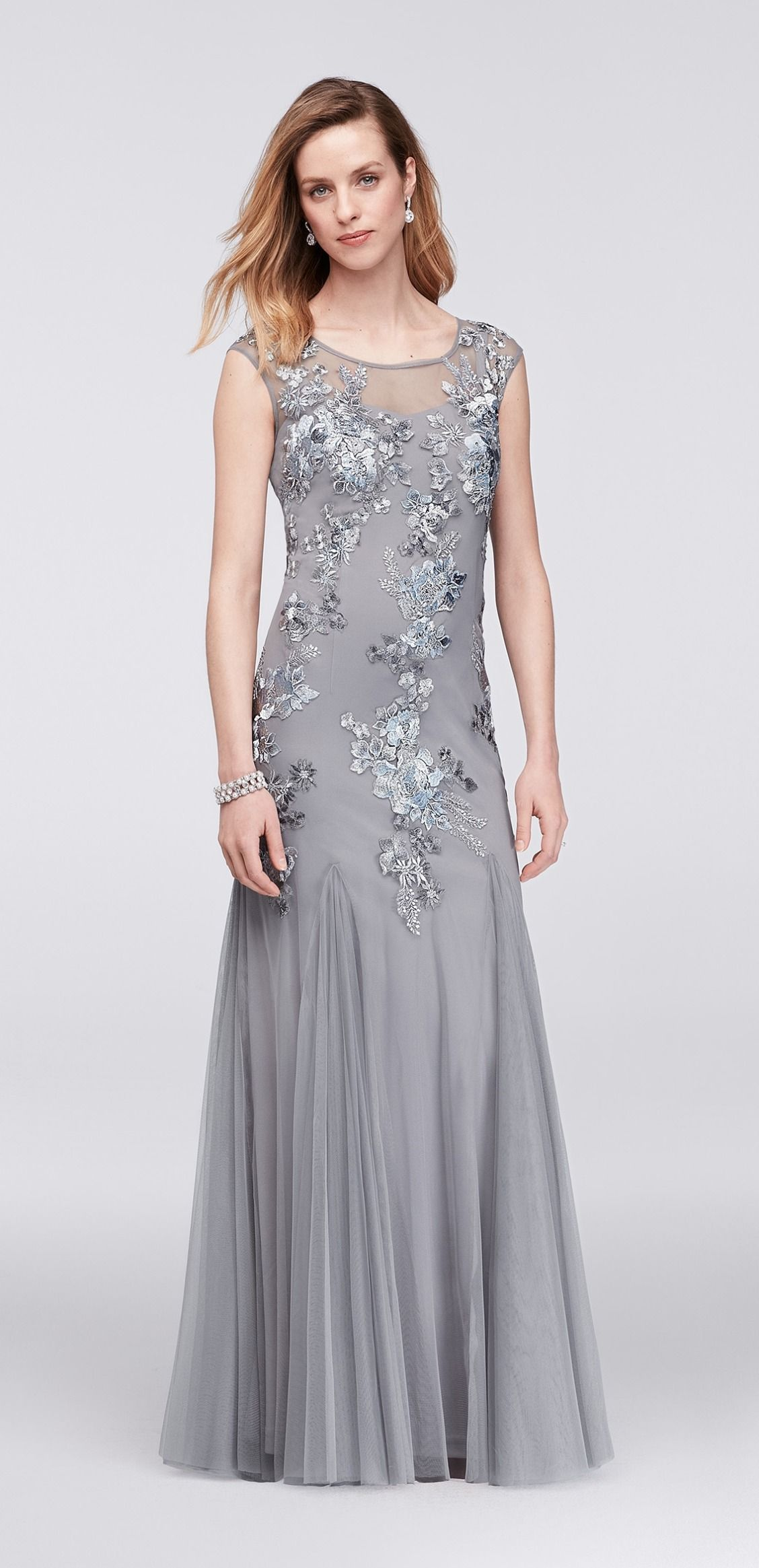 Silver Beaded and Embroidered Illusion Mesh Trumpet Gown by Emma ...
