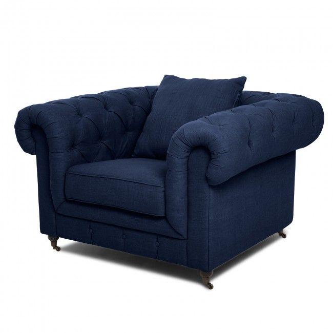 Chesterfield Dark Blue Armchair