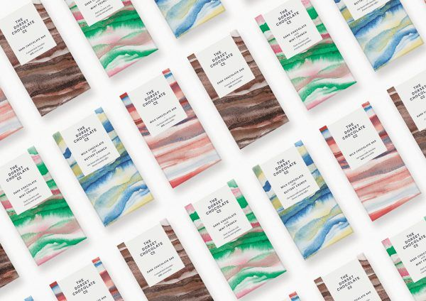 Watercolor Chocolate Packaging Design for Dorset Chocolate