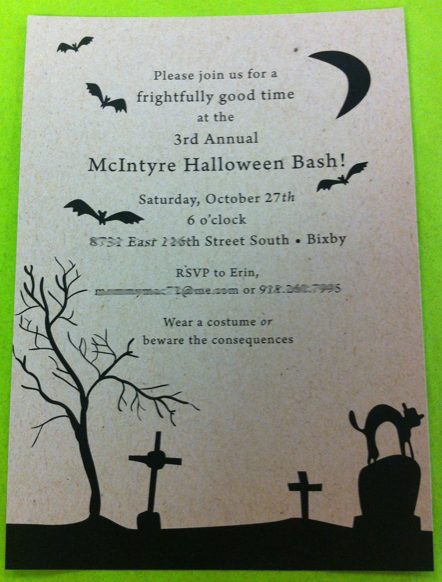 paper girl custom halloween invitation on kraft cardstock 200 each with envelopes