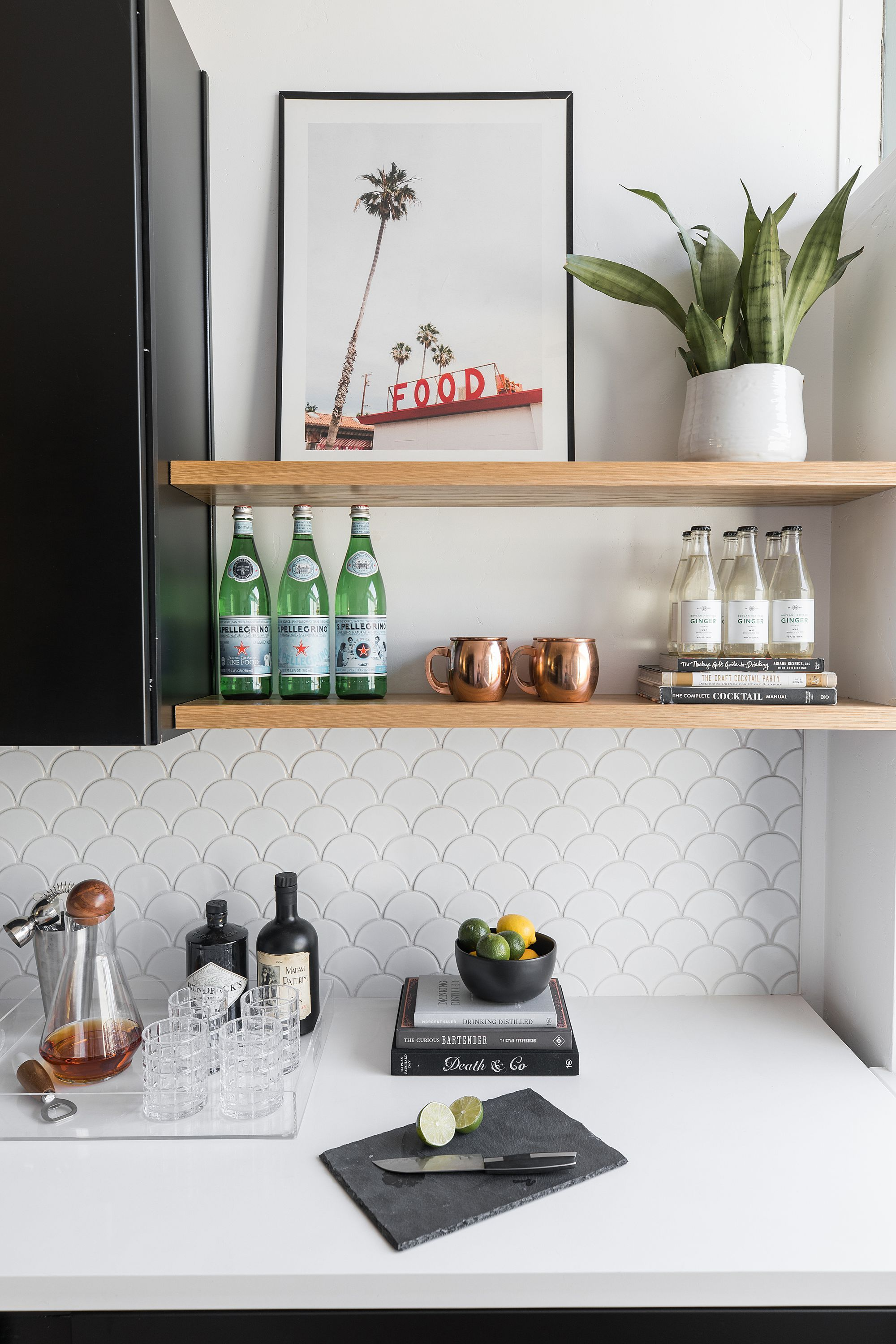 Bar area in kitchen with floating wood shelves, white ...
