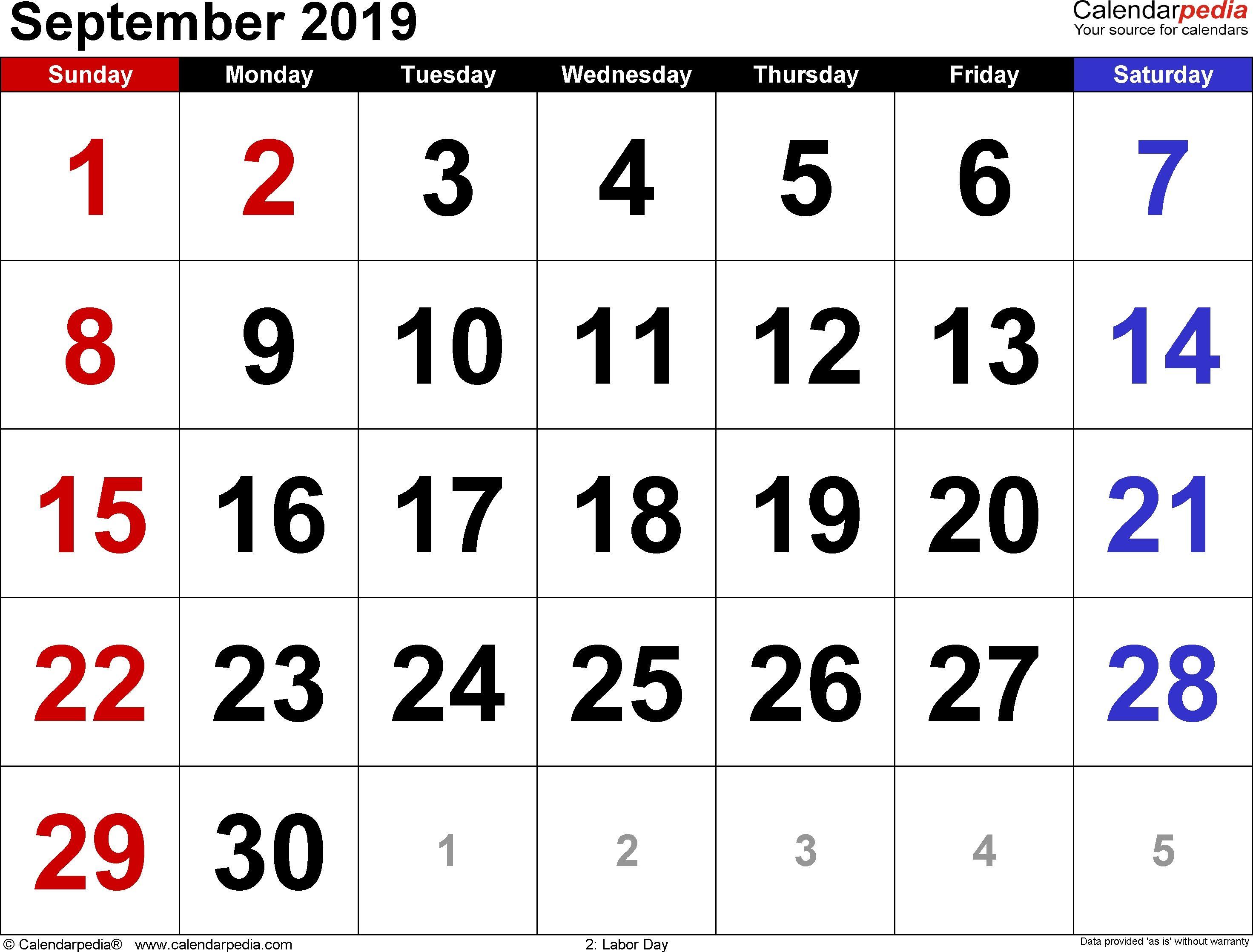 September 2019 Calendars For Word Excel Pdf Dowload June 2019