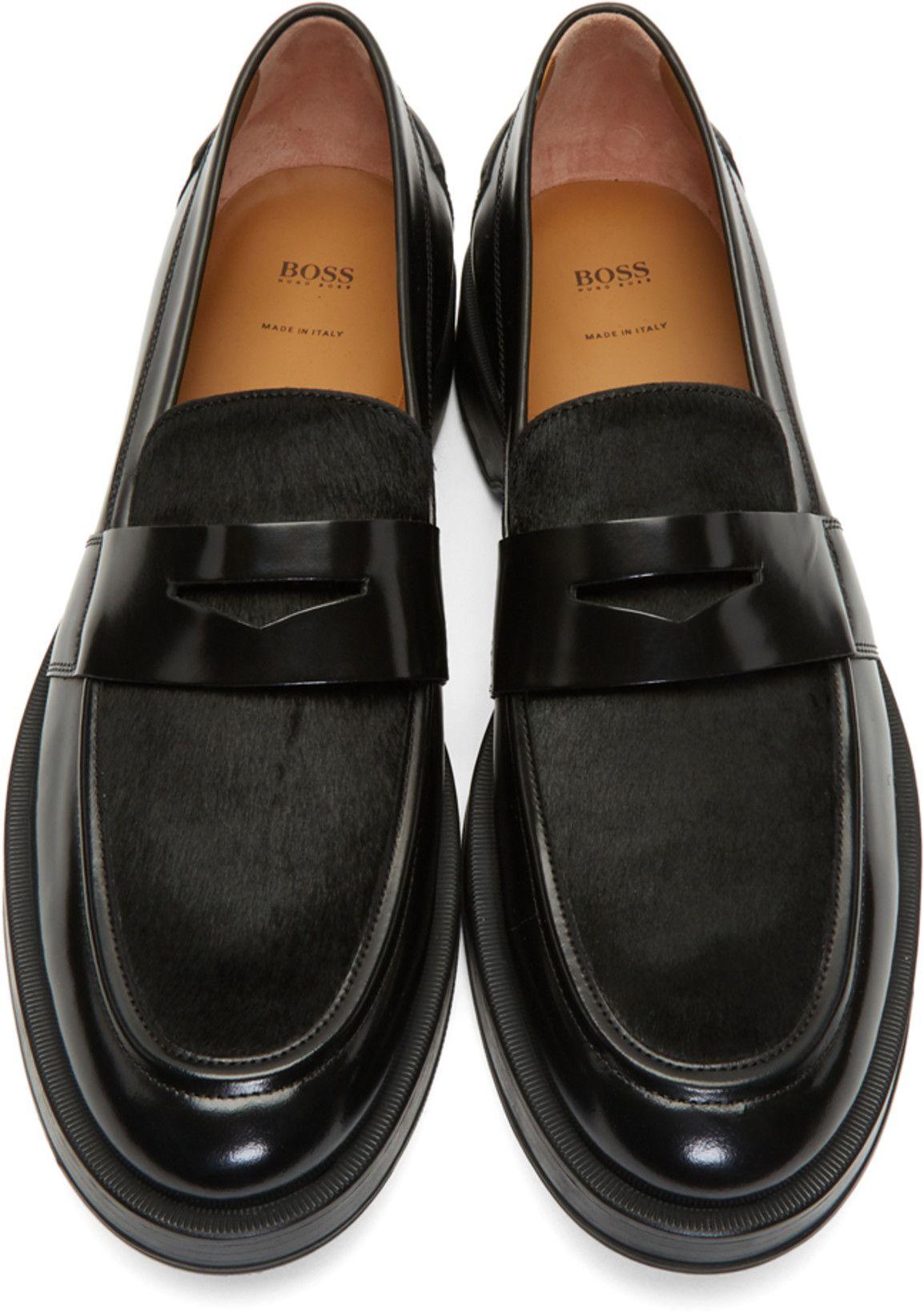 cc5e3824925 BOSS Black Calf-Hair Loafers in 2019