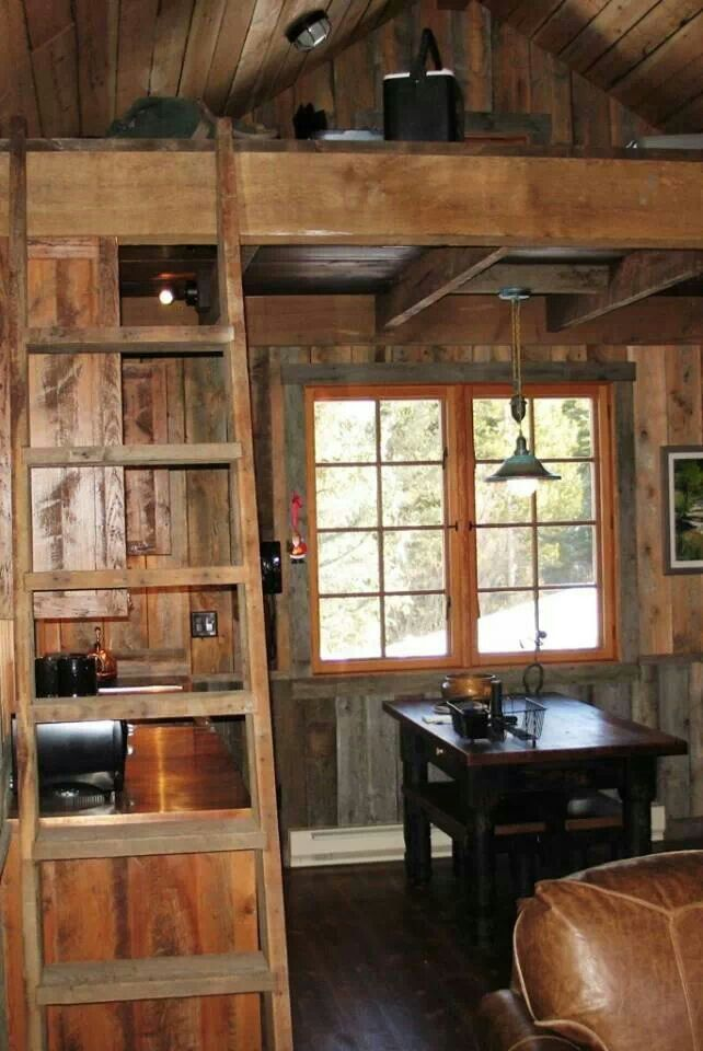 Small Cabin Interior. Kitchen And Dining Room.