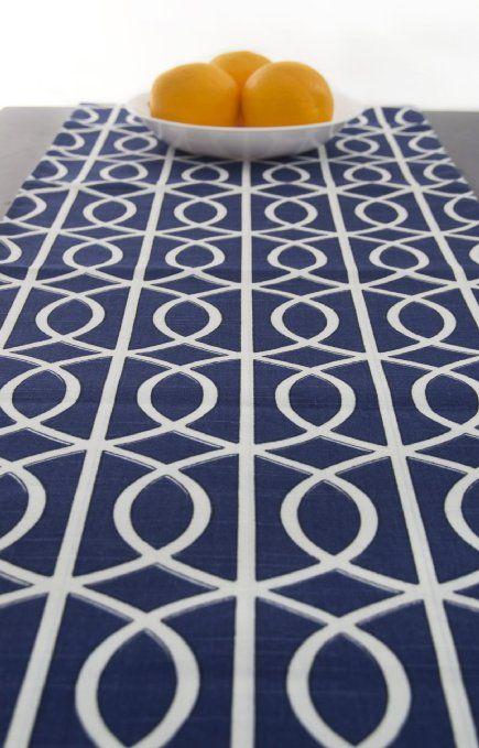Amazing Modern Blue Table Runner 120 Inch Long   Blue And White Table Runner   Navy  Bridges