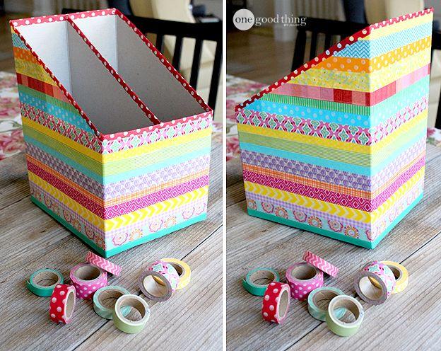 Diy Washi Tape Cereal Box Organizers Jillee Decore