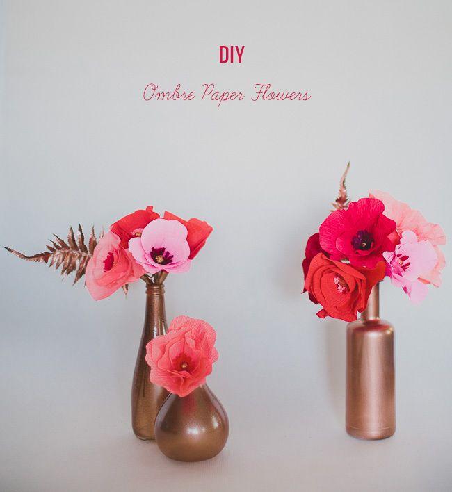 Diy Ombre Paper Flowers Diy Projects Pinterest Paper Flowers