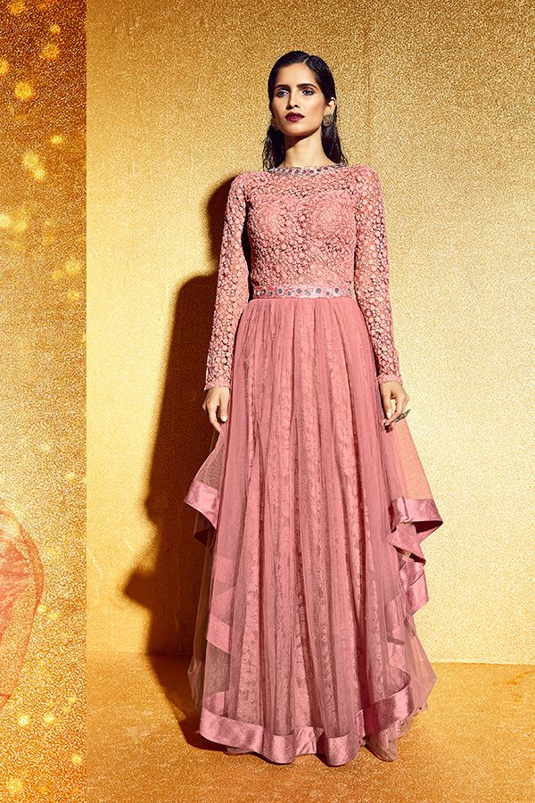 fadc771cd6 Peach Color Mono Net Fabric Designer Suit | Indian dresses ...
