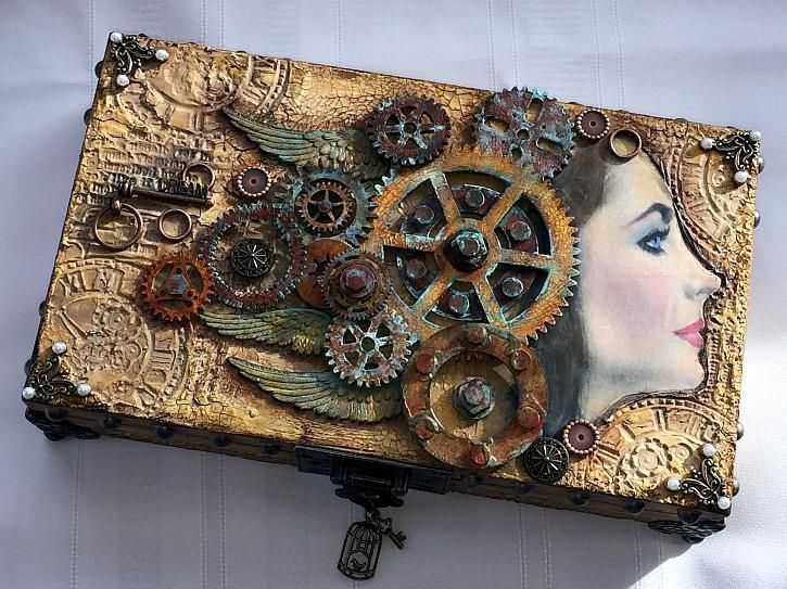 Altered wooden box by candy colwell decoartprojects