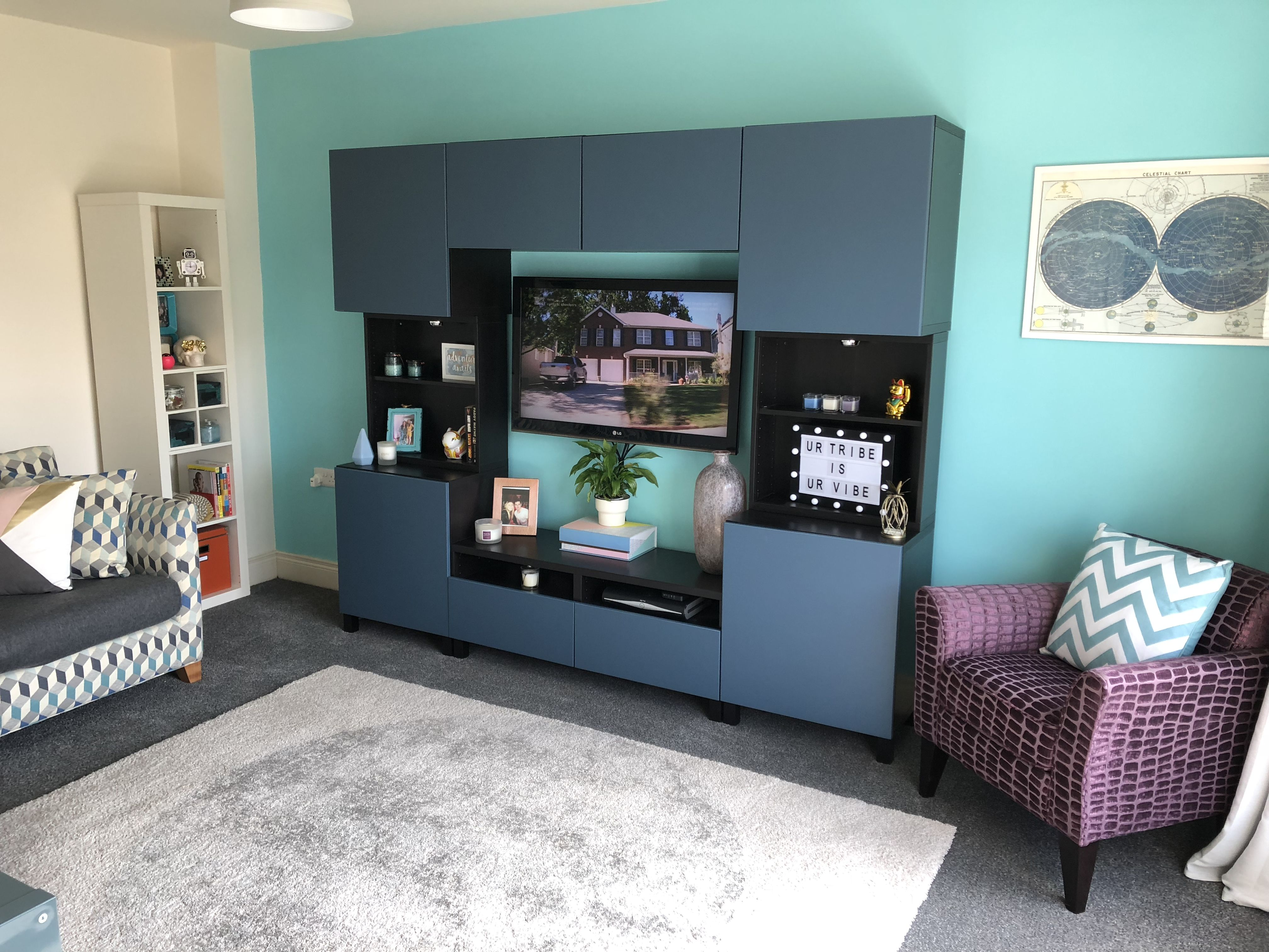 My living room. I love vibrant colours and dark wood. Unit ...