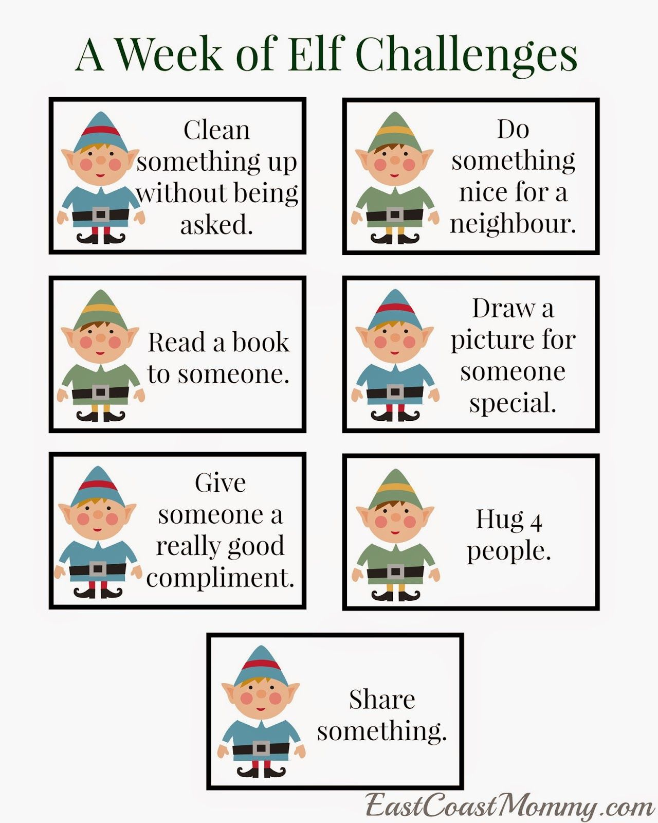 Elf Challenges Free Printable