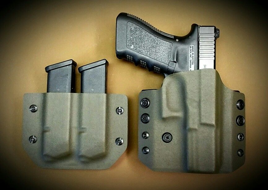 Glock 22 in a Classic Pancake Holster with matched OWB Dual